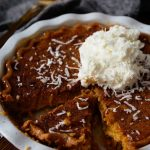 Butternut Squash Pie from leftover Thanksgiving or holiday squash topped with whipped cream and coconut.